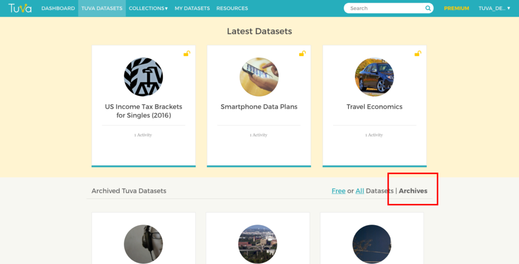 Archives Section on the Tuva Datasets page